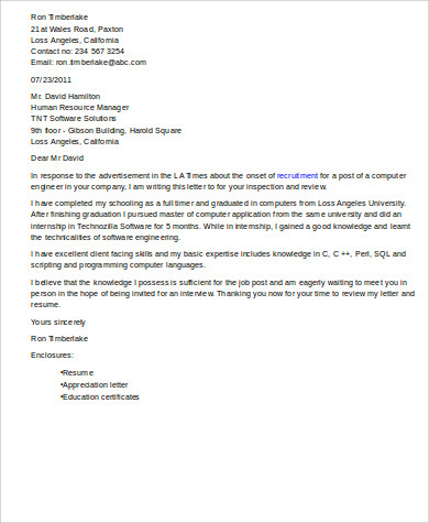 Cover Letter On Resumes Sample